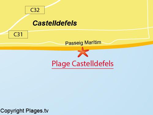 Carte de la Grande Plage de Castelldefels
