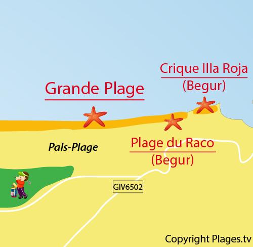 Carte de la Grande Plage de Pals en Espagne