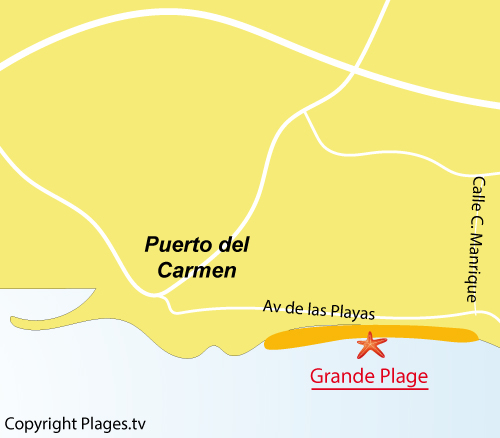 Carte de la Grande Plage de Puerto de Carmen - Lanzarote
