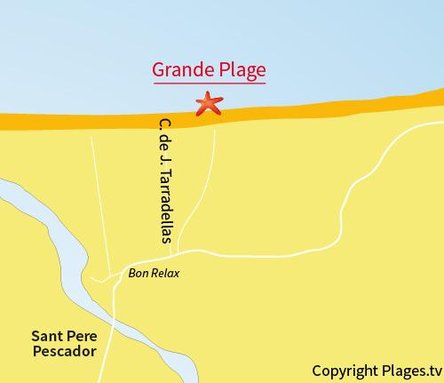 Carte de la Grande Plage de Sant Pere Pescador en Espagne