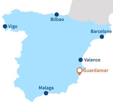 Localisation de Guardamar au sud d'Alicante