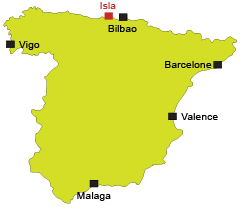 Localisation d'Isla en Espagne en Cantabrie - Costa Verde