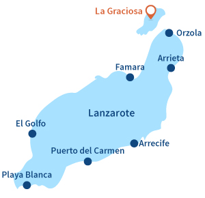 Map of La Graciosa in Lanzarote - Canary islands