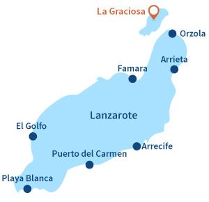 Localisation de La Graciosa à Lanzarote - Canaries