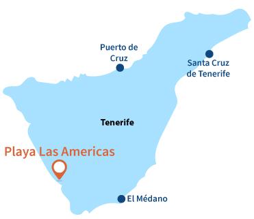 Localisation de Playa de Las Americas à Tenerife aux Canaries