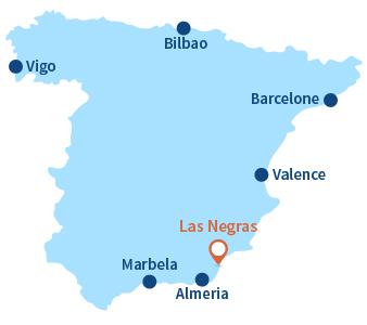 Localisation de Las Negras en Espagne - Andalousie