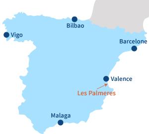 Localisation de Les Palmeres au sud de Valence en Espagne