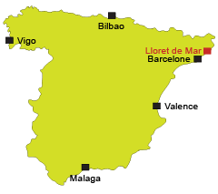 Location of Lloret de Mar in Spain