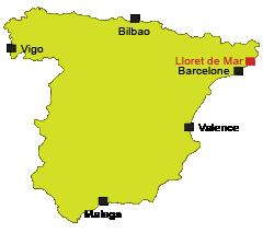 Localisation de Lloret de Mar en Espagne