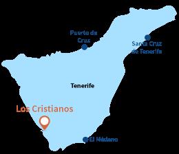 Localisation de Los Cristianos à Tenerife - Iles Canaries
