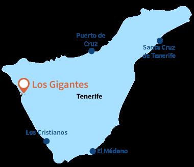 Localisation de Los Gigantes à tenerife