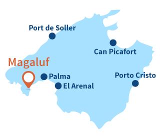Localisation de Magaluf à Majorque en Espagne - Iles Baléares