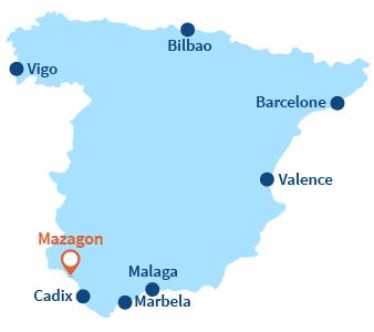Localisation de Mazagon en Espagne dans le sud de l'Andalousie