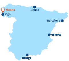 Localisation de Moana en Espagne (Galice)