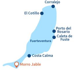 Localisation de Morro Jable à Fuerteventura - Iles Canaries
