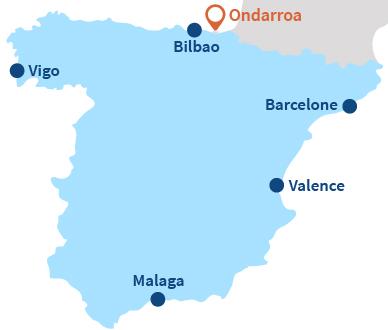 Map of Mutriku in Basque country in Spain
