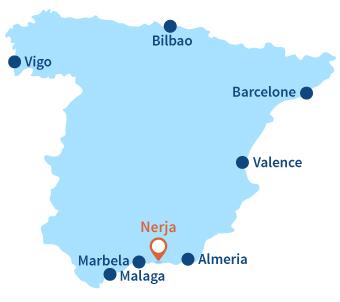 Localisation de Nerja en Andalousie en Espagne