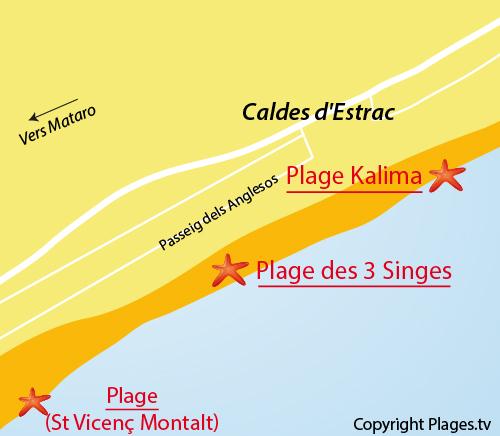 Carte de la plage des 3 Singes à Caldetas en Espagne