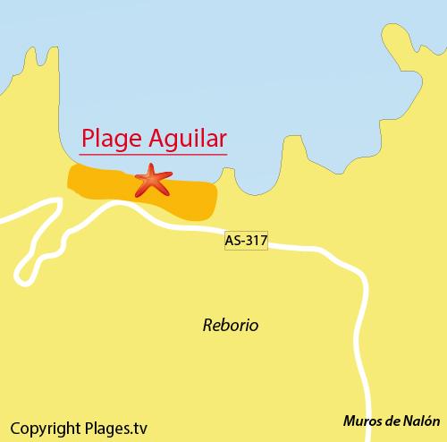 Carte de la plage d'Aguilar en Espagne