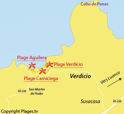 Carte de la plage d'Aguilera dans les Asturies en Espagne
