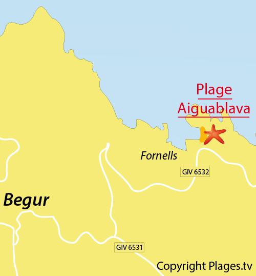 Map of Aigua Blava Cove in Spain - Begur