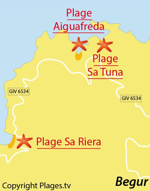 Map of Aiguafreda Cove in Begur - Spain