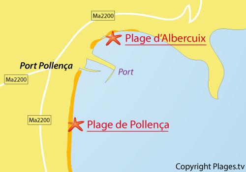 Carte de la plage d'Albercuix à Port Pollença