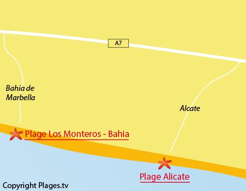 Carte de la plage d'Alicate à Marbella