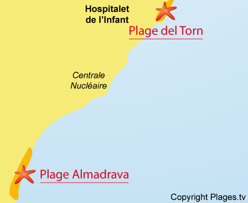 Carte de la plage Almadrava - Hospitalet del Infante