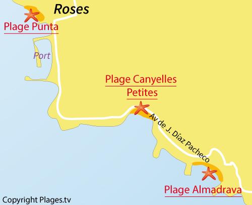 Map of Almadrava Beach in Roses