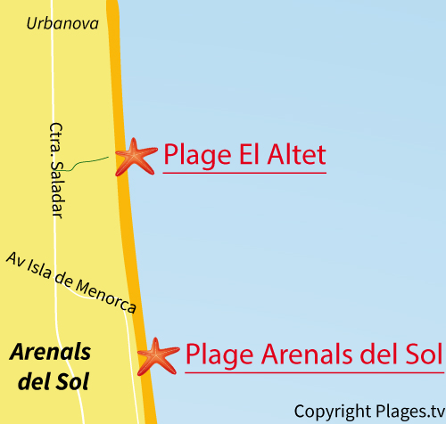 Carte de la plage d'Altet à Alicante