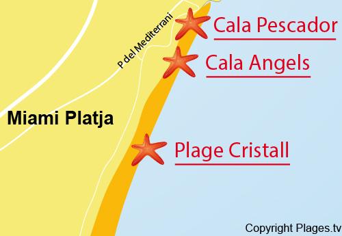 Carte de la crique Angels à Miami-Platja - Espagne
