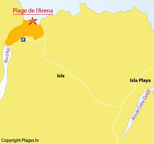 Carte de la plage de l'Arena à Isla - Espagne