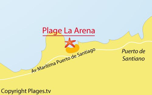 Carte de la plage de l'Arena à Puerto Santiago - Tenerife