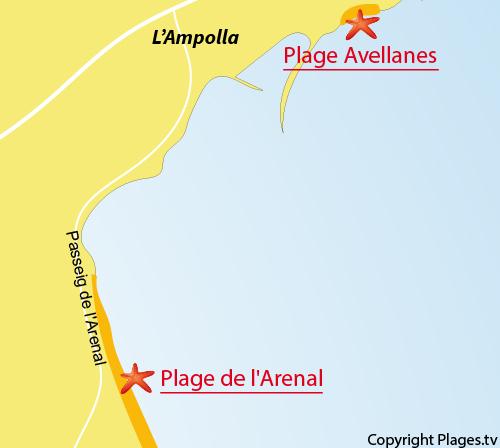 Carte de la plage de l'Arenal - Ampolla
