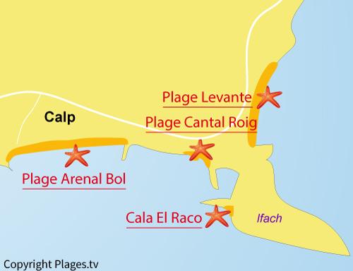 Carte de la plage Arenal Bol à Calpe
