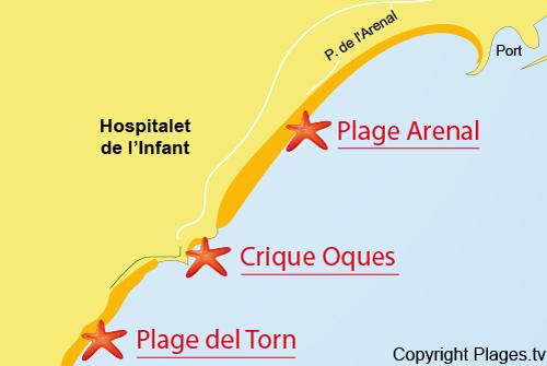 Carte de la plage de l'Arenal - Hospitalet de l'Infant