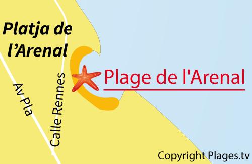 Carte de la plage de l'Arenal à Javea