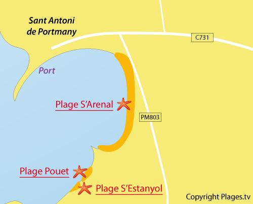 Carte de la plage d'Arenal à Sant Antoni - Ibiza