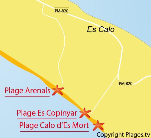 Carte de la plage des Arenals à Playa de Migjorn - Formentera