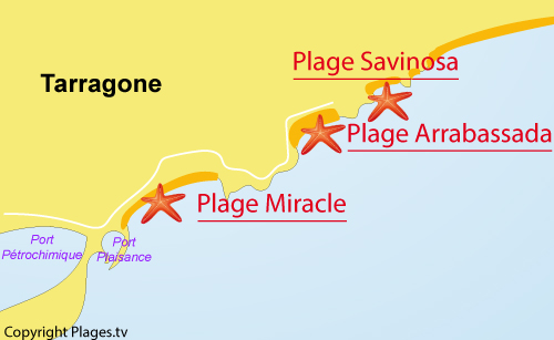 Map of Arrabassada Beach in Tarragona in Spain