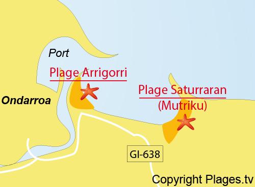 Carte de la plage d'Arrigorri à Ondarroa