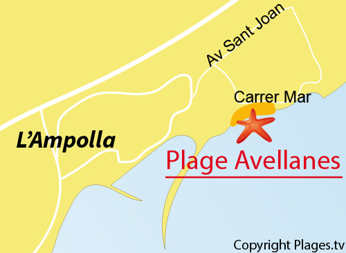 Carte de la plage de l'Avellanes - l'Ampolla