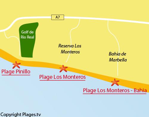 Carte de la plage de la Bahia de Marbella - Los Monteros