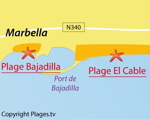Carte de la plage de Bajadilla en Espagne