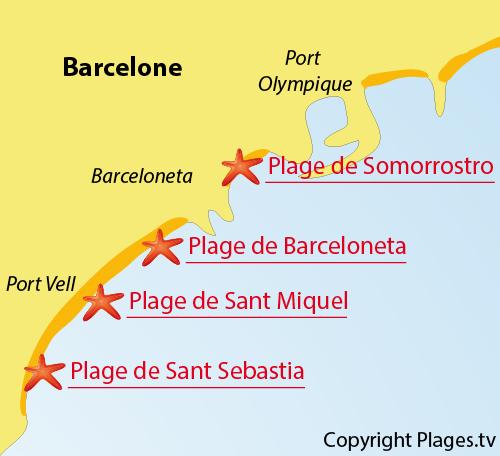 Carte de la plage de Barceloneta à Barcelone