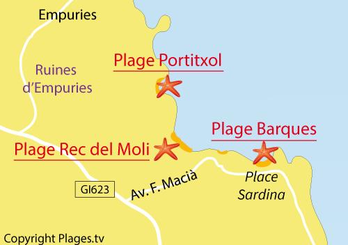 Carte de la plage des Barques - l'Escala