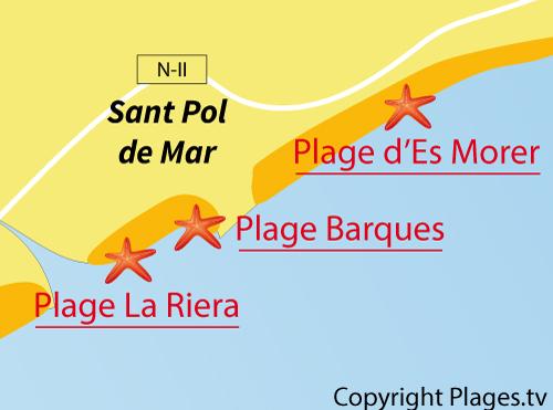 Carte de la plage des Barques à St Pol de Mar