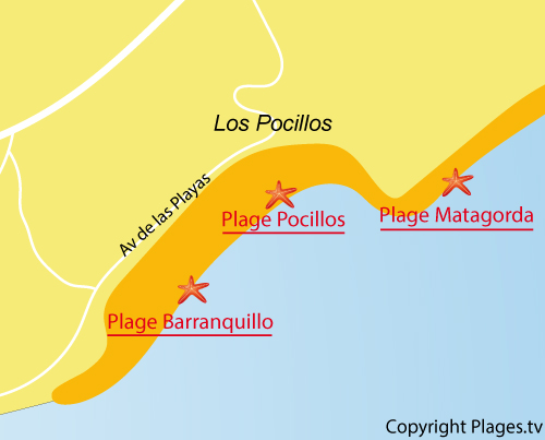 Map of Barranquillo Beach in Puerto de Carmen - Lanzarote