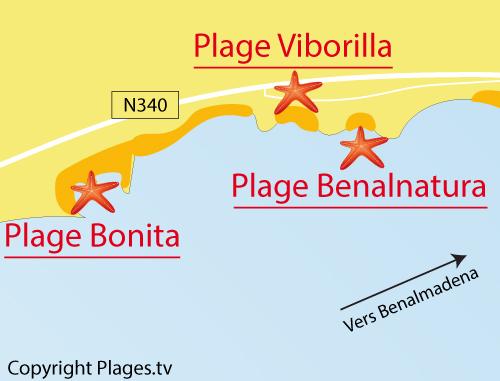 Carte de la plage de Benalnatura à Benalmadena - Andalousie